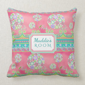 BOHO Chic Fun Whimsical Dandelion Floral Hot Pink Throw Pillow