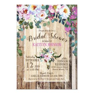 Boho Chic Longhorn Cow Skull Floral Bridal Shower Card