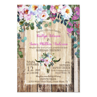Boho Chic Longhorn Cow Skull Floral Wedding Card