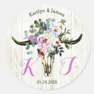 Boho Chic Longhorn Skull Floral Wedding Label