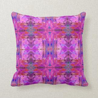 Boho chic tribal pattern purples, pinks, teal cushion