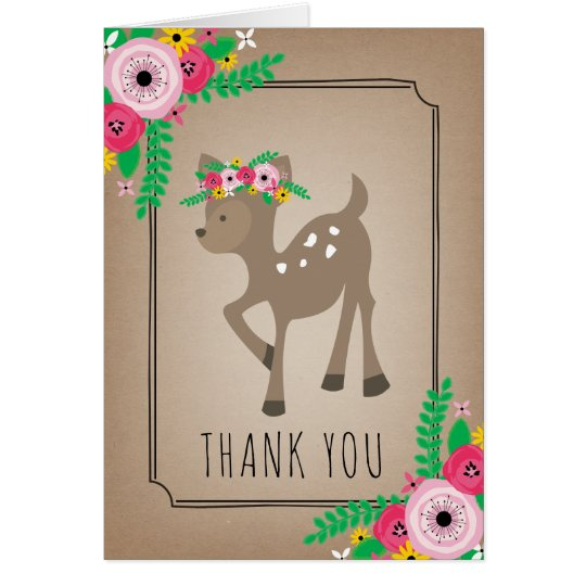 Boho Deer Baby Shower Thank You Brown Card