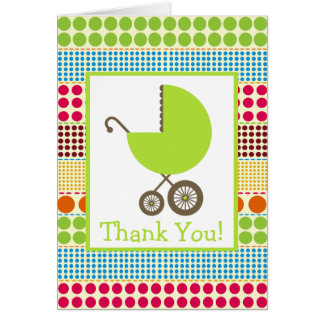 Boho Dots & Green Carriage Baby Shower Thank You Greeting Card