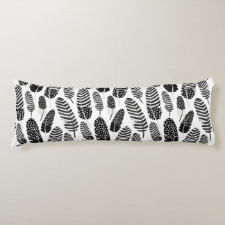 Boho Feather Pattern Watercolor Black and White Body Cushion