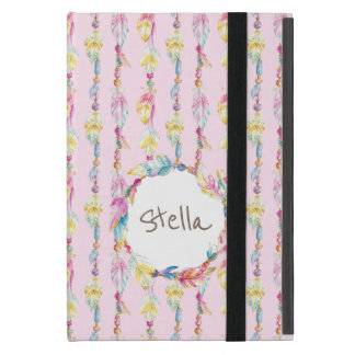 Boho feather watercolor art name pink case