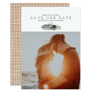 Boho Feather Watercolor Save Our Date Card