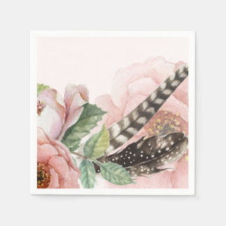 Boho Feathers and Flowers Disposable Napkin