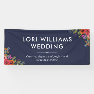 Boho Floral Bouquets - Navy Blue - Business Name Banner