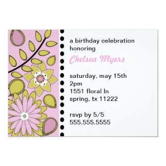 BOHO Floral Pink Sage Invitaiton Card