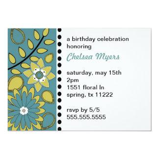 BOHO Floral Teal Sage Invitaiton Card