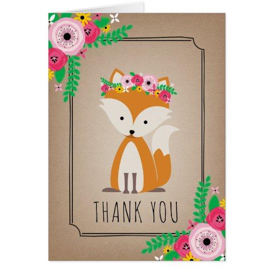 Boho Fox Baby Shower Thank You Brown Card