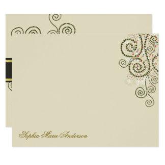 Boho Green Spirals Bat / Bar Mitzvah Thank You Card