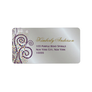 Boho Purple Spirals Elegant Wedding Address Labels