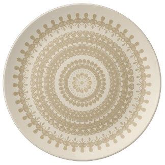 Boho Sand Tribal Circle Mandala Tan Earthen Brown Plate