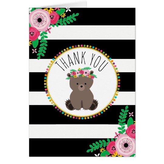 Boho Stripes Bear Baby Shower Thank You Card