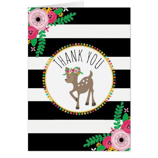 Boho Stripes Deer Baby Shower Thank You Card