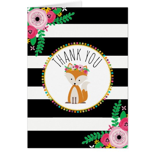 Boho Stripes Fox Baby Shower Thank You Card