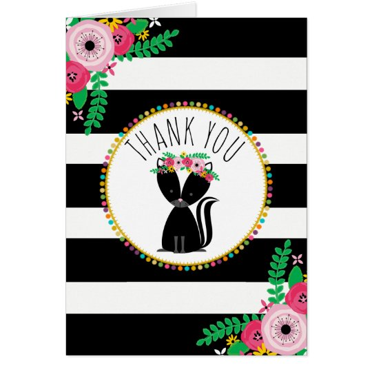 Boho Stripes Skunk Baby Shower Thank You Card