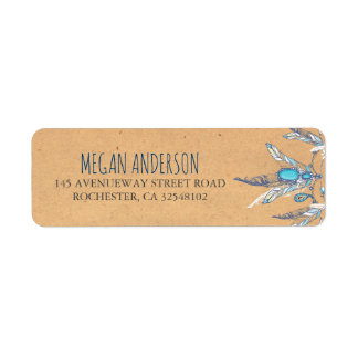 boho vintage wedding return address label