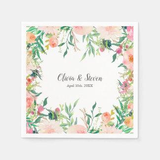 Boho Watercolor Floral Personalised Wedding Disposable Serviette