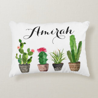 Boho Watercolor Succulents Custom Accent Pillow