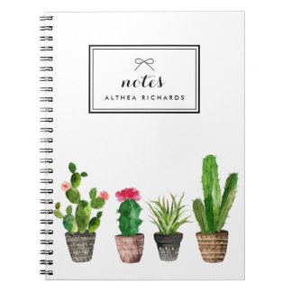Boho Watercolor Succulents Personalised Notebooks
