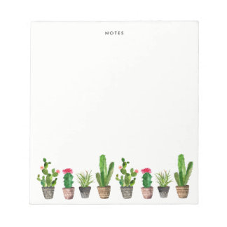 Boho Watercolor Succulents Personalised Notepads