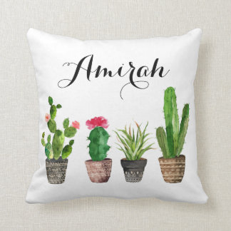 Boho Watercolor Succulents Personalised Pillow