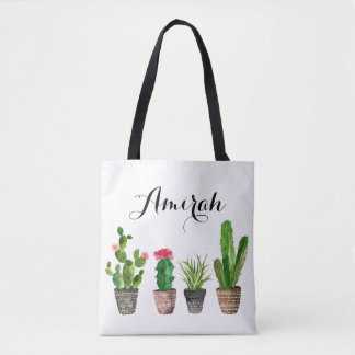 Boho Watercolor Succulents Personalised Tote Bag