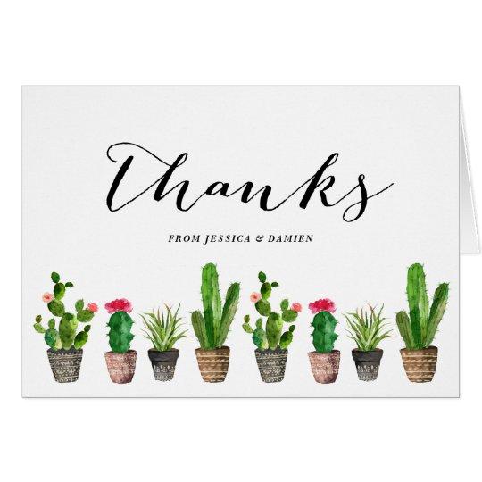 Boho Watercolor Succulents Thank You Card