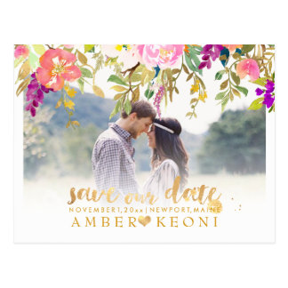 Boho Watercolor Summer Floral Save the Date Postcard