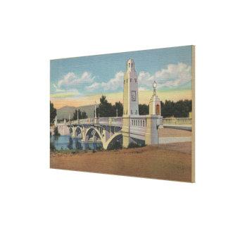 Boise, ID - View of Boise River Bridge Canvas Print