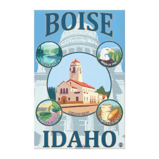 Boise, IdahoScenic Travel Poster Canvas Print