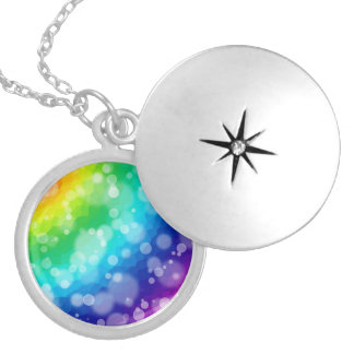 Bokeh Rainbow Silver Plated Necklace
