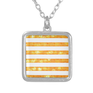 Bokeh Stripes Orange And White Necklace
