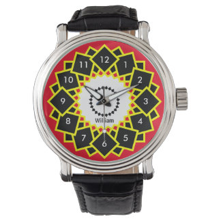 Bold and Bright Geometric Squares Your Name Custom Watch