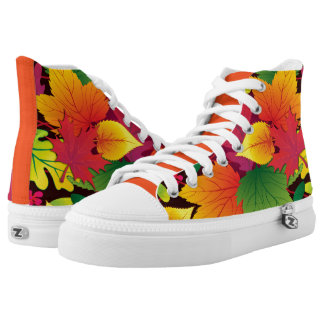 Bold and Colorful Autum Leaves Printed Shoes