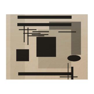 Bold black and grey abstract painting. wood wall art