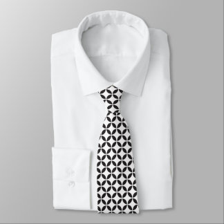 Bold Black and White Ellipses Geometric Pattern Tie