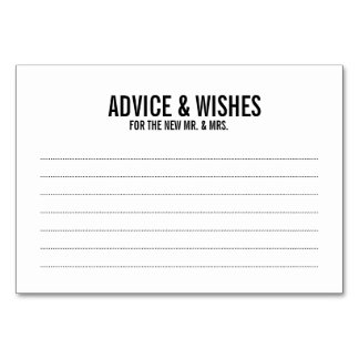 Bold Black and White Wedding Advice and Wishes Card