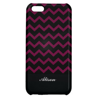 Bold Black & Maroon Chevron Custom Monogram iPhone 5C Covers