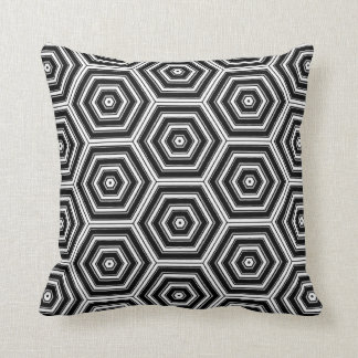 Bold Black White and Grey Hexagon Pattern Print Cushion