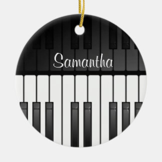 Bold Black White Keyboard Design Ornament