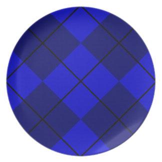 Bold Blue on Blue Argyle Dinner Plate