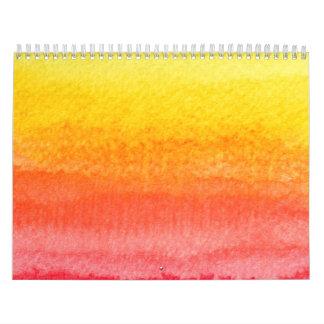 Bold Bright Orange Yellow Ombre Watercolor Calendars