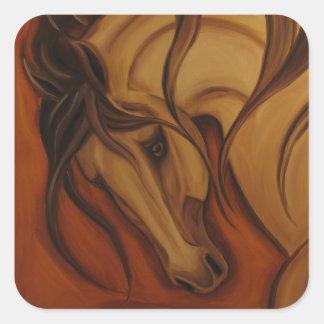 Bold Buckskin Horse Square Sticker