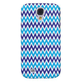 Bold Chevron Zigzags Teal Blue Striped Pattern Galaxy S4 Case