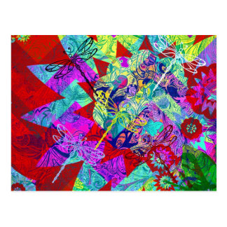 Bold Colorful Abstract Collage with Dragonflies Postcard