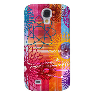 Bold Colorful Funky Spirographs and Stripes Galaxy S4 Case