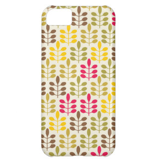 Bold Colorful Leaf Pattern Pink Green Brown Yellow iPhone 5C Case